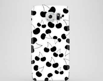 Black and White Cherries phone case, iPhone X case, Samsung Galaxy S7, S6, S6 Edge, S5, iPhone 8, 8 Plus, iPhone 7, iPhone 6, 6S, iPhone SE