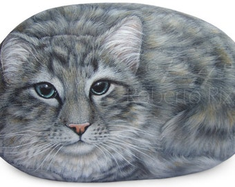 Custom Cat Portrait Hand Painted on a Natural Sea Stone | Fine Detailed Pet Memorial Painted Rocks by the Artist Roberto Rizzo