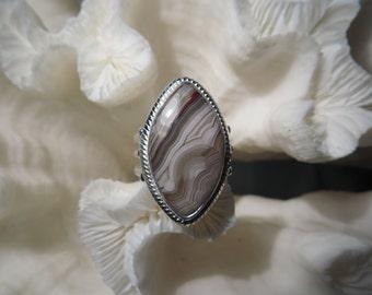 Crazy Lace Agate Jasper Ring Size 7.25