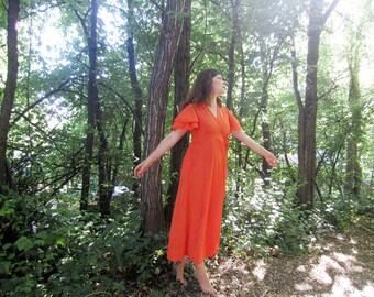 1960s Orange Maxi dress  Butterfield 8 S/M