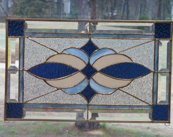 Blue/Green Stained glass and Beveled Transom