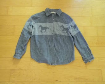 Vintage Blue Button Down Long Sleeve Collared Mens Shirt
