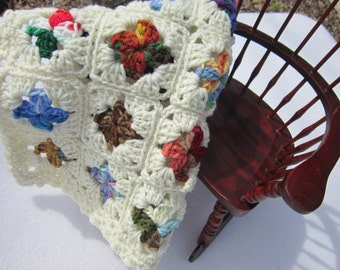 Doll Blanket, Crochet Baby Doll Afghan,  Dollhouse Quilt, Crocheted Old Time Granny Square Dolly Blanket, Scrap Multicolored Covering