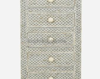 Bone Inlay Designer Mini Dresser Camel Bone Inlay 5 Drawer Home Furniture