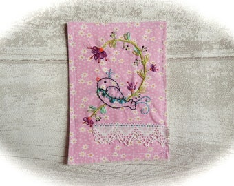 Embroidered & hand stitched card