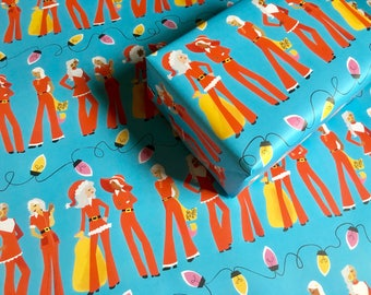 SANTA LADIES gift wrap | ms claus gift wrap, cute gift wrap, cute wrapping paper, christmas gift wrap, feminist wrapping, fashion gift wrap
