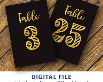Black and gold Table numbers 4x6 Wedding table number printable 1-30 Instant download Bold numbers Black background table numbers