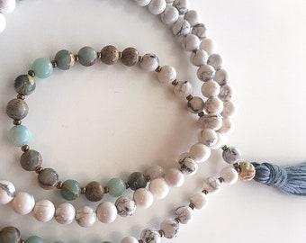 Mala Beads- Chakra- 108- Mantra- Crystal- White Howlite- Jasper- Healing
