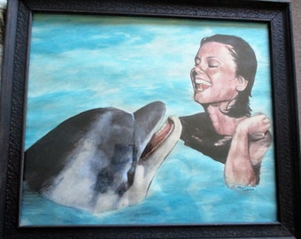 "Framed Original Acrylic Painting - 24""X28"" woman and dolphin"