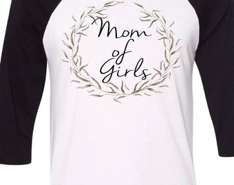 Mom Of Girls Shirt Floral Mom Shirt Mom Baseball Tee, Floral Boho T-shirt Boho Top Floral Shirts For Women, Purple Wreath Graphic Mama Gifts