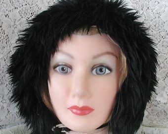Black Tuscan Lamb Fur Hat.....Vintage Hat Made in Italy of Black Lamb Fur
