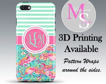 Monogram iPhone 6 Case Personalized Phone Case Lilly Pulitzer Inspired Monogrammed iPhone Case, Iphone 4 4S iPhone 5, 5S, 5C iPhone 6S #2236