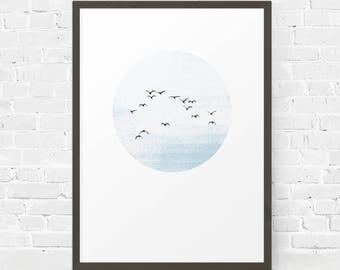 Birds Printable, Circle Printable, Coastal Decor, Flying Birds Print, Flock of Birds, Beach Printable, Blue Wall Print, Watercolor Effect