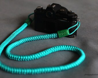 Bluish green 12mm Hand knit Chinese knot handmade Camera neck strap