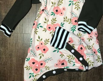 Floral poppy and stripes with olive romper, rompaloones, snap romper, bum circle romper, baby girl, 18mo romper