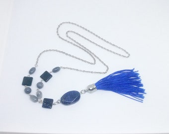 Lapis lazuli tassel necklace, gemstone necklace, chain necklace, beaded necklace, lariat necklace, gift for her