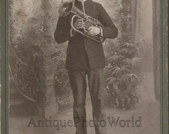 Handsome mustached man w trombone antique music photo New Britain CT