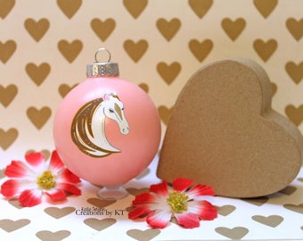 White Horse Christmas Ornament READY TO SHIP Pink Hand Painted Glass Bauble Horse Painting Horse Decor Horse Art Equestrian Gifts Art