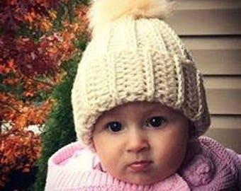 Crochet Pom Pom Beanie Hat
