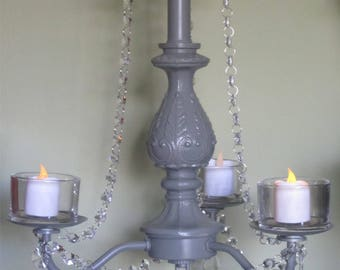 Candle chandelier etsy grey hanging chandelier candle holder oak 3 arm grey with acrylic crystals outdoor mozeypictures Image collections