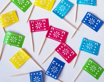 15 Colorful Celebration Party Flag Cupcake Picks Cupcake Toppers