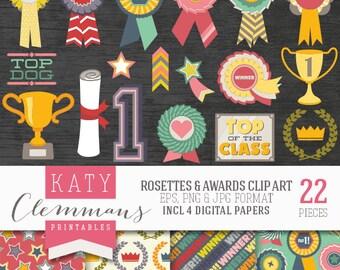ROSETTES & AWARDS clip art with digital paper pack. Printable rosette, trophy illustrations, patterns, scrapbook art - instant download.