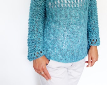 Sweater Knitting PATTERN - Lagoon/Loose Knit Sweater/ Open Knit Jumper/Boho Oversized Pullover/ Off The Shoulder Knit Top