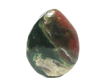 Agate Bloodstone agate, Deep green and Red Semiprecious Gem Stone Pear Shape Cabochon,  Polished gemstone, DIY Jewelry