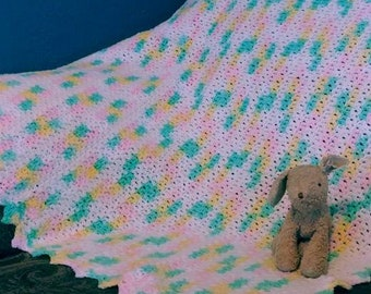 Spring colors crocheted baby blanket