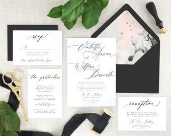 Calligraphy Wedding Invitation Suite Printed - Modern Wedding Invitation Black and White -  Marble Wedding Invitation Simple - Set of 10