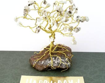 Sesame Jasper Gem Tree, Gemstone Tree, Wire Trees, Cute Desk Accessories, Tree of Life