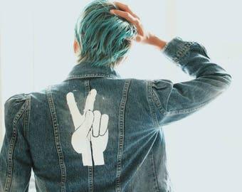 Retro Denim Peace Sign Jacket