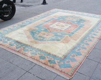 Large turkish rug, large vintage rug, large muted rug, oushak vintage rug, large area rug, large room rug, 622