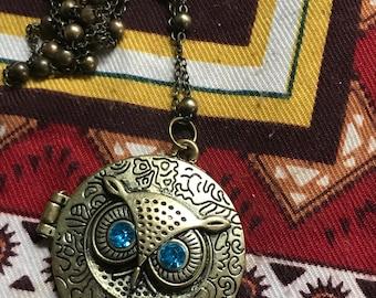 Owl photo locket necklace