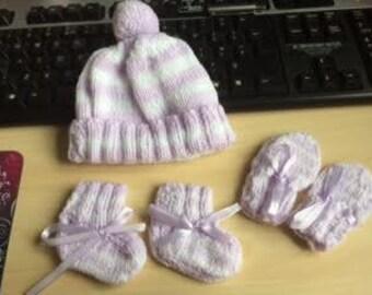 Baby Hat, Mitts & Booties - Newborn - 3 Months