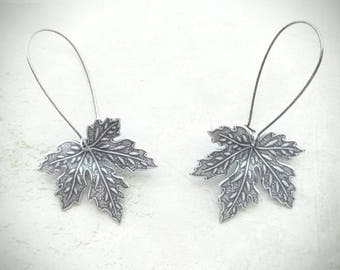 Maple Leaf Earrings Dangle Leaf Earrings Silver Leaf Earrings Drop Earrings Maple Leaf Jewelry Canadian Earrings Canadian Jewelry Leaf Jewel