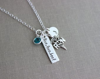 Sterling silver nurse necklace, live love heal, with birthstone, personalized with initial disc, LPN, RN or caduceus, Nurses week Gift idea