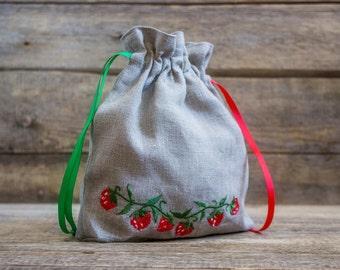 Linen Girl Handbag, Embroidered Wedding Sachet, Small Handmade Strawberry Bag, Grey, Rustic Party Bag
