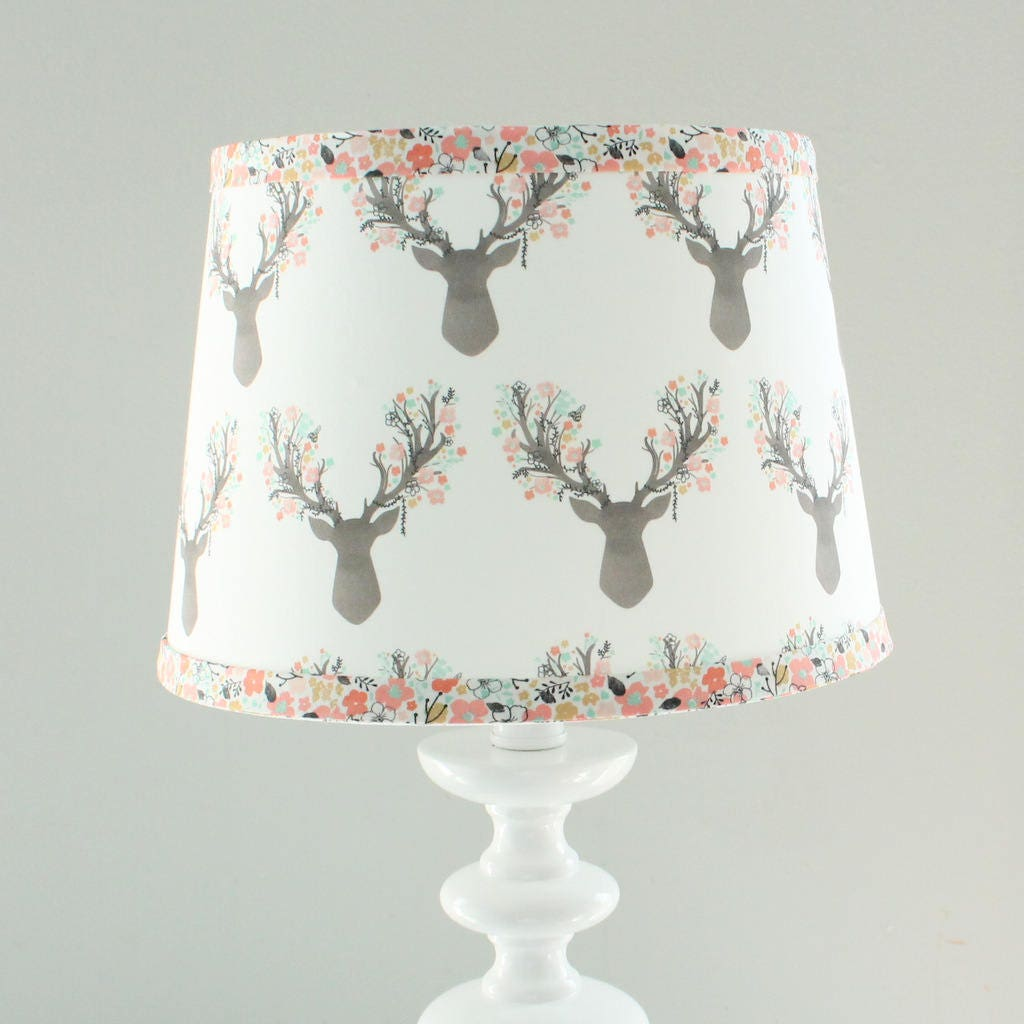 Nursery Lamp Shade Floral Coral Deer Fawn Floral Little