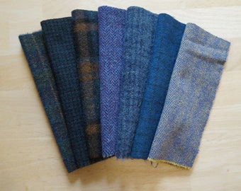Primitive Blues Bundle Wool Textures for Rug Hooking, Quilting, and Applique