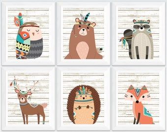 Tribal woodland nursery printable set wall art, kids room bear deer fox owl raccoon wall decor, rustic nursery wall art set instant download