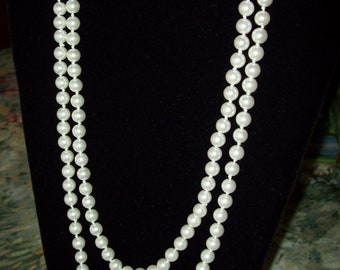 Vintage Long Milk White Glass Pearl Necklace