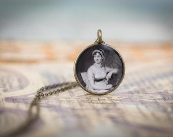 Jane Austen Pendant  - Glossy Resin Charm