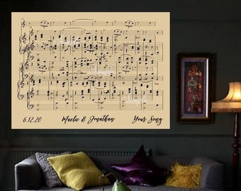 Canvas Sheet Music Art First Dance Song First Anniversary Overlapping Music Notes Music Print Personalized CANVAS Print Choose Song