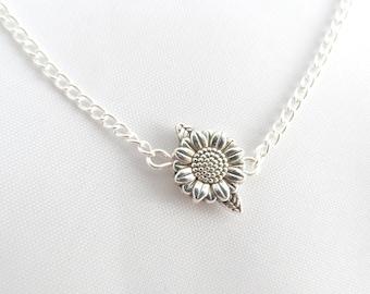 Silver Sunflower Bracelet -  Sunflower Bracelet - Flower Bracelet - Frienship Bracelet