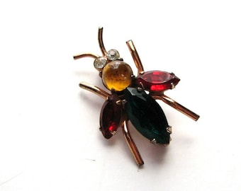signed sterling vintage Coro fly pin . colorful glass rhinestone fly brooch . sterling Coro jewelry bug