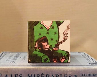 2.5 inch Wood Decoupaged Handmade Block Paperweight, Shelf Collectible, Table-setting, Teacher Gift, Baby Gift, etc.:  Curious George