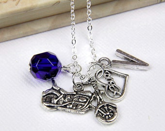 Personalized Motorcycle Necklace with Your Initial and Birthstone