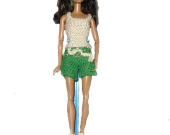 2 Piece Hand Crochet Barbie Fashion Doll Summer Shorts and Tank Top Set.  Free domestic shipping.