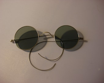 Antique Lennon-Style, Dark Tinted Round Wire Sunglasses, Steampunk, Non-RX